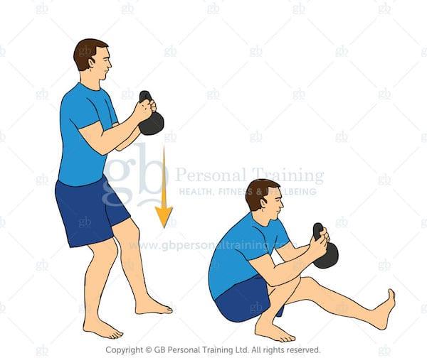 Kettlebell PIstol Squat exercise