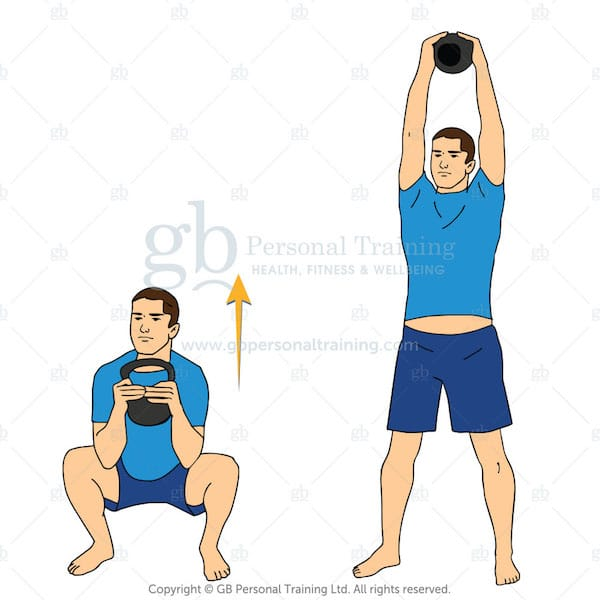 Two Handed Kettlebell Squat and Press