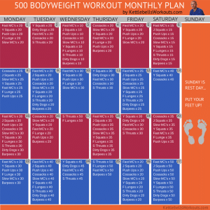 500 bodyweight workout monthly plan