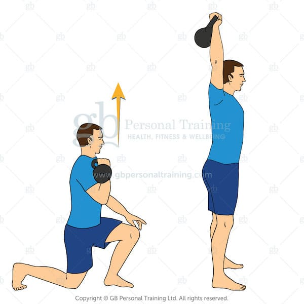 kettlebell reverse lunge and press exercise
