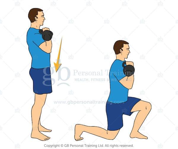 Kettlebell Reverse Lunge Exercise