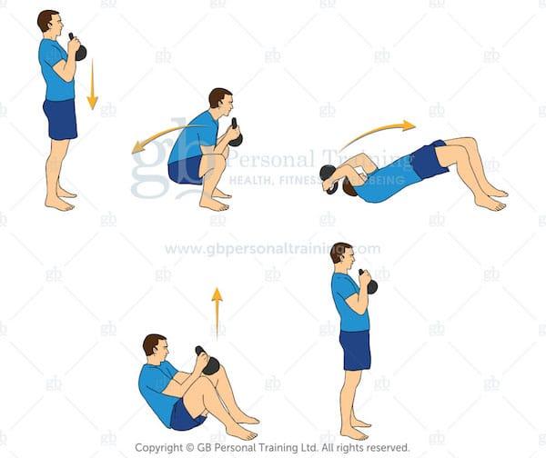 Kettlebell Deck Squat exercise