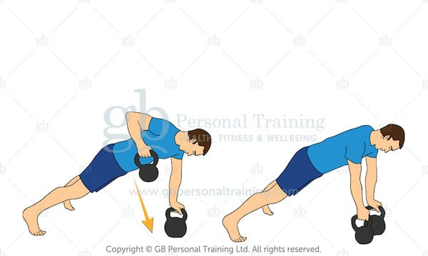 kettlebell plank row exercise