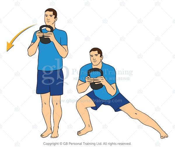 kettlebell side lunge exercise
