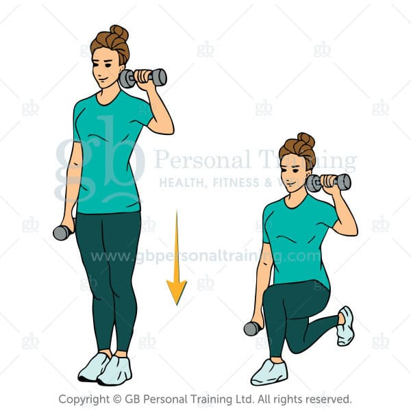 Dumbbell Reverse Lunge 1 Up 1 Down