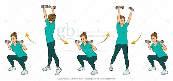 Dumbbell Squat and Rotational Press