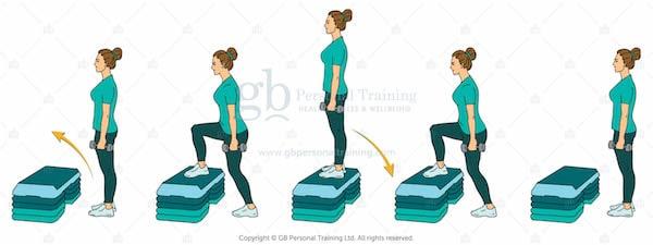 Dumbbell Step Ups Exercise