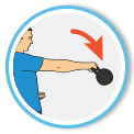 Hands traveling above the kettlebell