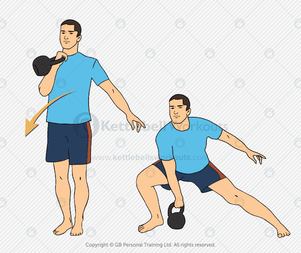 Kettlebell Side Lunge and Clean Exercise