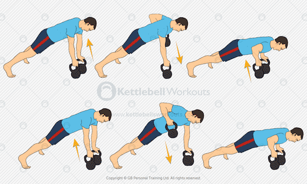 Kettlebell Renegade Row with Push Up