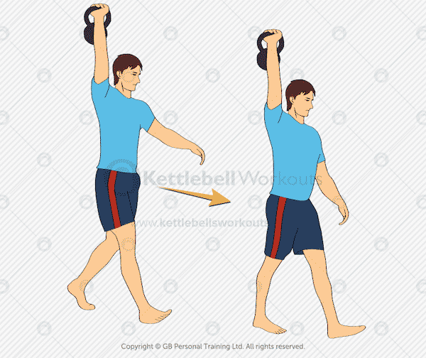 kettlebell overhead hold and walk